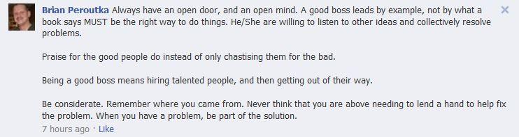 Facebook comment Brian P.