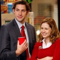 "NBC's ""The Office"" couple Jim (John Krasinski) and Pam (Jenna Fischer)"