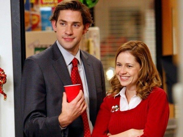 "NBC's ""The Office"" couple Jim (John Krasinski) and Pam (Jenna Fischer)"