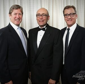 Al Scaletta, center, with TDS Telecom's Group President of Marketing Sales and Customer Operations, Jim Butman, right, and Vice President of Sales, Matt Loch, left, on the night Al was awarded the 2015 President's Club Award for outstanding sales achievement.