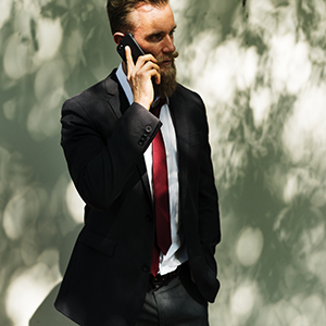 Businessman using mobile phone communication technology